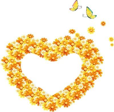 Coeur fleurs jaunes