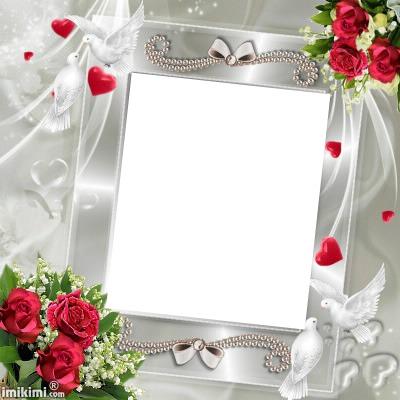 cadre blanc et roses rouges