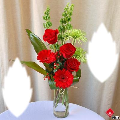 Roses rouge et Gerbéras rouge