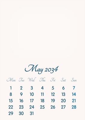 May 2034 // 2019 to 2046 // VIP Calendar // Basic Color // English
