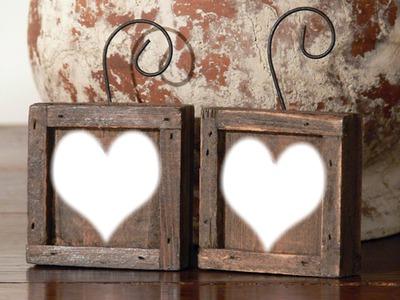 cadre bois 2 coeurs