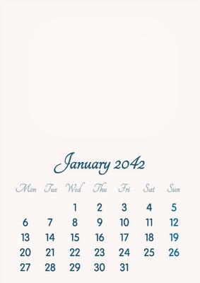 January 2042 // 2019 to 2046 // VIP Calendar // Basic Color // English
