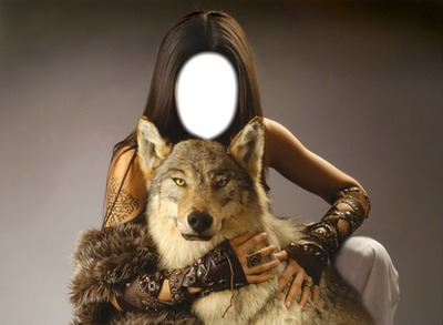 girl with a wolf
