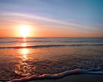 Coucher du soleil de la plage