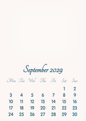September 2029 // 2019 to 2046 // VIP Calendar // Basic Color // English