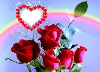 Photo Montage Un Bouquet De Roses Avec Un Coeur 1 Photo Pixiz