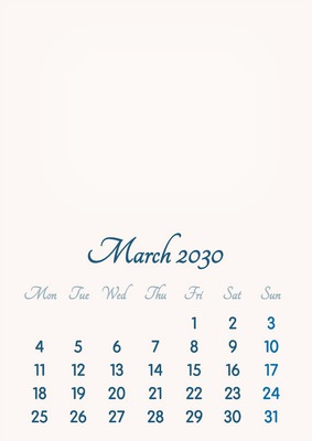 March 2030 // 2019 to 2046 // VIP Calendar // Basic Color // English