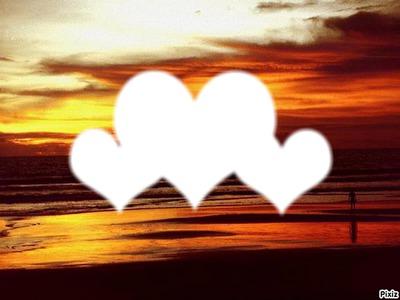 three love in sunset