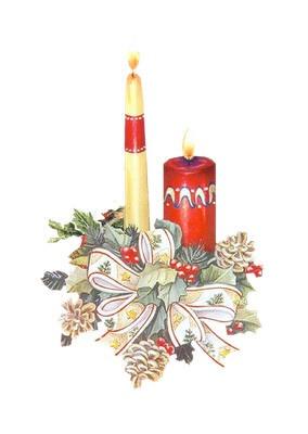 2 bougies avec houx de noel