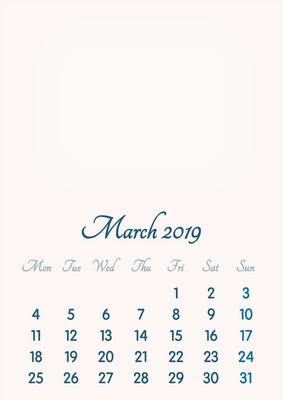 March 2019 // 2019 to 2046 // VIP Calendar // Basic Color // English