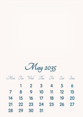 May 2035 // 2019 to 2046 // VIP Calendar // Basic Color // English
