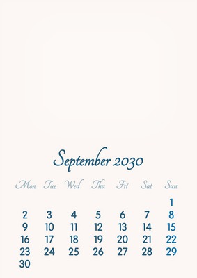 September 2030 // 2019 to 2046 // VIP Calendar // Basic Color // English