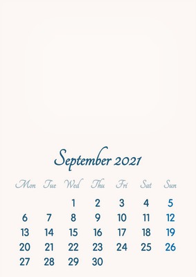 September 2021 // 2019 to 2046 // VIP Calendar // Basic Color // English