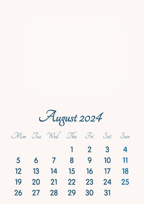 August 2024 // 2019 to 2046 // VIP Calendar // Basic Color // English