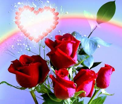 Herzen über den Regenbogen