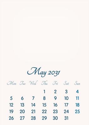 May 2031 // 2019 to 2046 // VIP Calendar // Basic Color // English