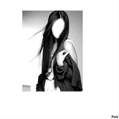 visage fille trop belle-noir et blanc