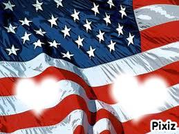 Coeur sur drapeau américain