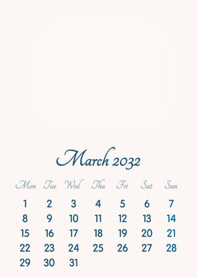 March 2032 // 2019 to 2046 // VIP Calendar // Basic Color // English