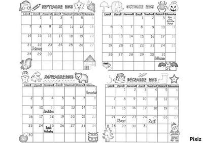 Calendrier 2015 (septembre à novembre)