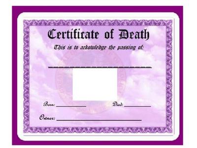 Photo montage Blank FL: Pet Certificate of Death hdh - Pixiz