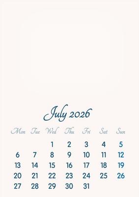 July 2026 // 2019 to 2046 // VIP Calendar // Basic Color // English