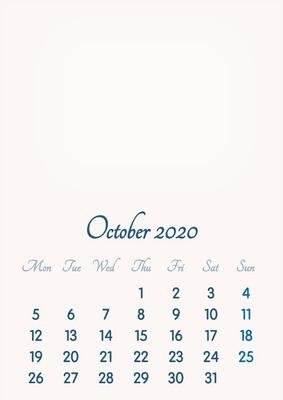 October 2020 // 2019 to 2046 // VIP Calendar // Basic Color // English