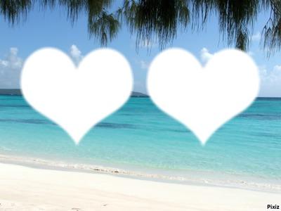 Deux coeur blanc sur plage