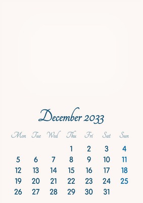 December 2033 // 2019 to 2046 // VIP Calendar // Basic Color // English