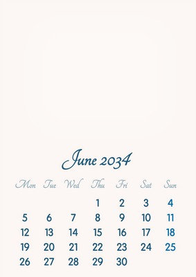June 2034 // 2019 to 2046 // VIP Calendar // Basic Color // English