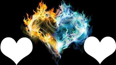 coeur avec flames orange et bleu 2 photos