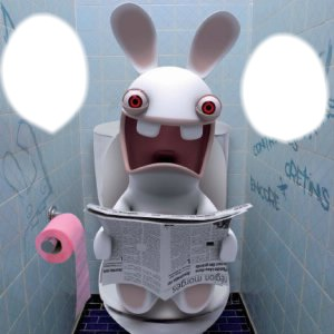 lapin cretin au toilettes