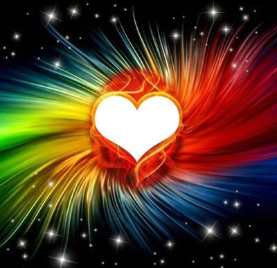 coeur avec jets de couleurs 1 photo