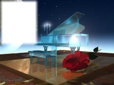 Piano-musique-rose rouge