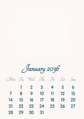 January 2036 // 2019 to 2046 // VIP Calendar // Basic Color // English
