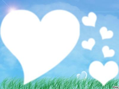 un paysage avec  6 coeur