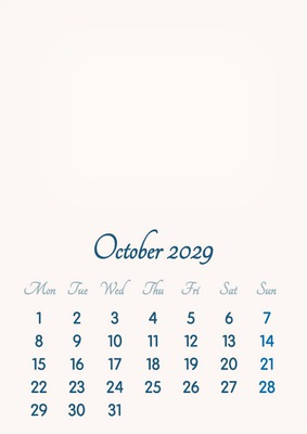 October 2029 // 2019 to 2046 // VIP Calendar // Basic Color // English