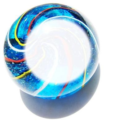 bola azul rajada