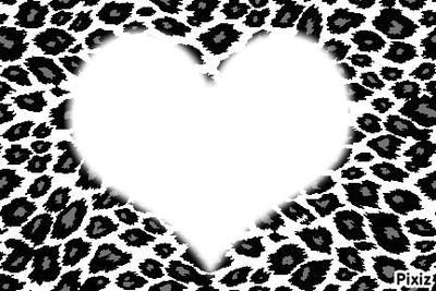 coeur en leopard noir et gris