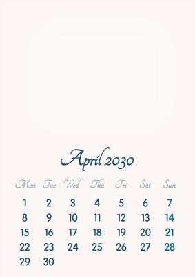 April 2030 // 2019 to 2046 // VIP Calendar // Basic Color // English