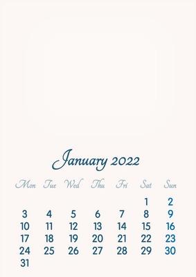 January 2022 // 2019 to 2046 // VIP Calendar // Basic Color // English