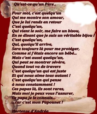 Montage photo poeme pour papa pixiz - Citation fete des peres ...