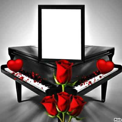 piano et rose