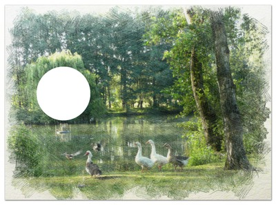 étang à l'aquarelle