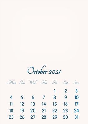 October 2021 // 2019 to 2046 // VIP Calendar // Basic Color // English