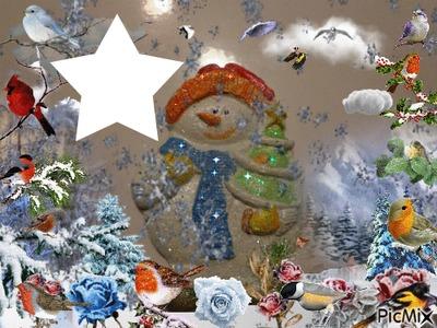 Bonhomme de neige AVEC BONNET ORANGE ROUGE PEINT PAR GINO GIBILARO AVEC ETOILE ET DECO PICMIX