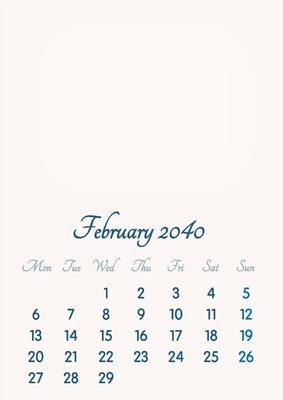 February 2040 // 2019 to 2046 // VIP Calendar // Basic Color // English