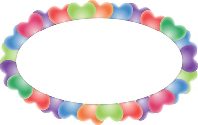 1 cadre photo avec des coeurs multicolores