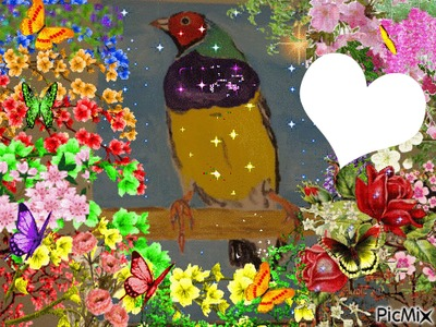 Diamant gould peint par Gino GIBILARO avec coeur et déco pixiz