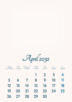April 2032 // 2019 to 2046 // VIP Calendar // Basic Color // English